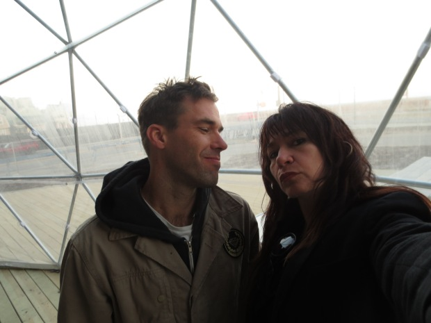 Filmmakers Rick Charnoski & Katrina del Mar at Katrina's Girl Gang Trilogy screening at the MoMA PS1 VW Dome 2 in Rockaway
